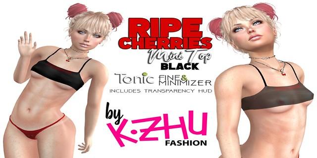 RIPE CHERRIES kzhu MINI TOP BLACK Poster V2