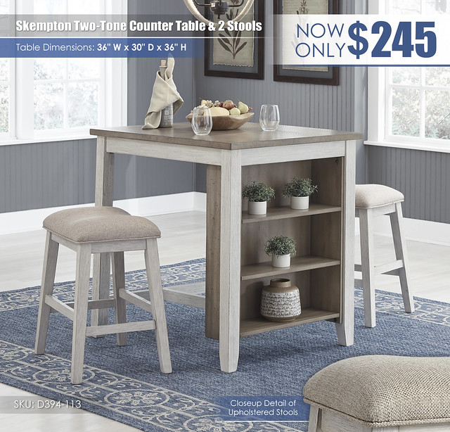 Skempton Counter Table & 2 Stools_D394-113