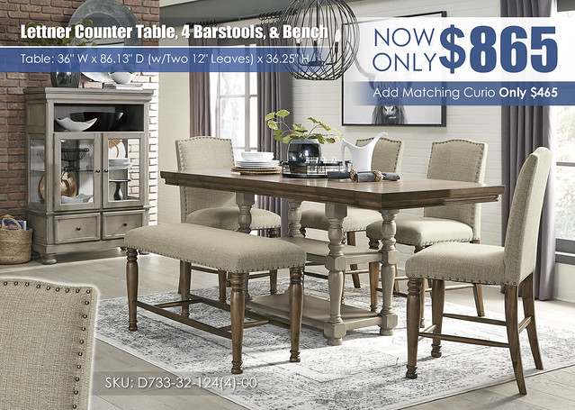 Lettner Counter Height Table 4 Barstools and bench_D733-32-124(4)-00-86