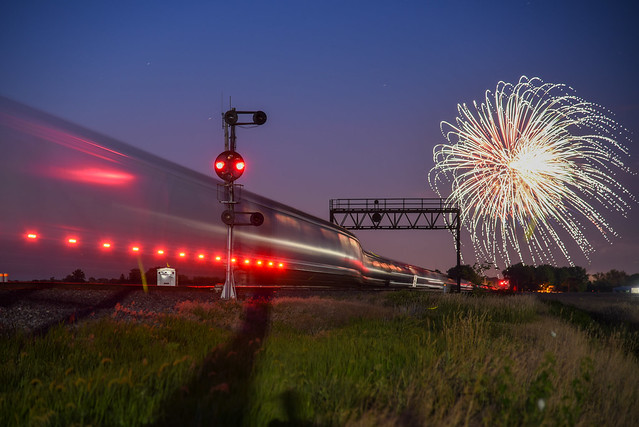 Q350 sits goes into the siding while Deshler sets off there fireworks