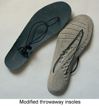Modified throwaway insoles.