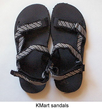 KMart sandals.
