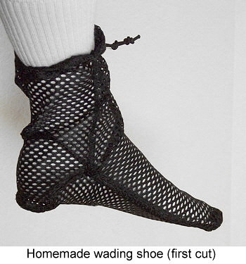 Homemade wading shoes.
