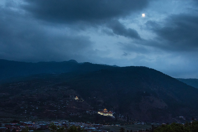 Night view of Paro valley