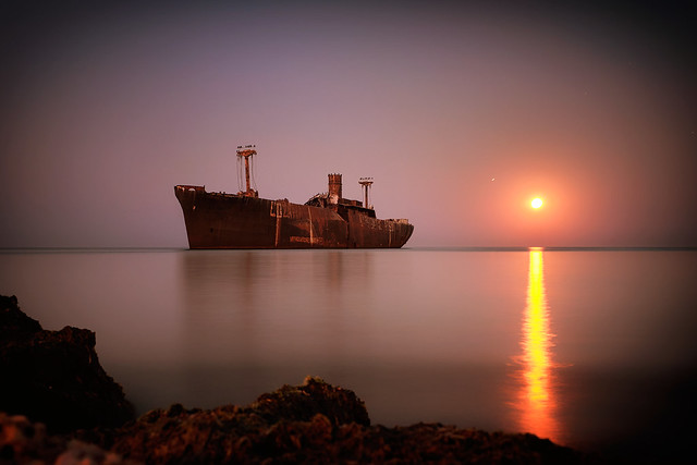 Moon Rise on Evangelia shipwreck