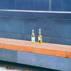 Beers on a bench.