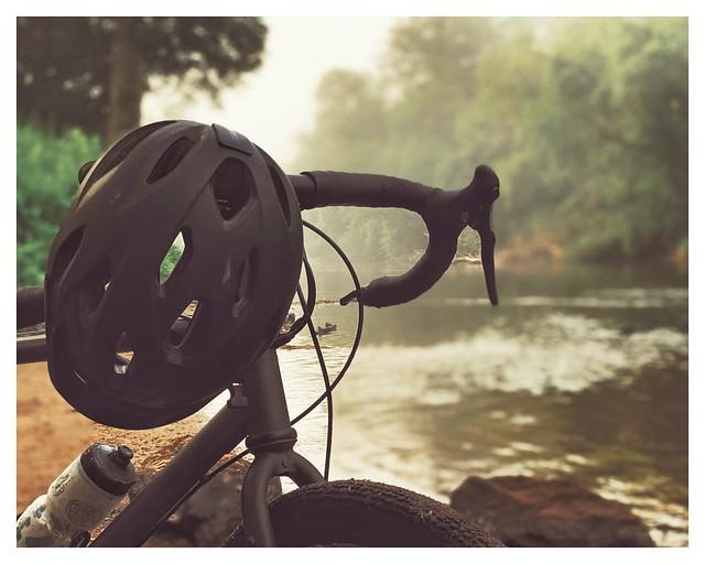 Hike & Bike with a post self portrait.