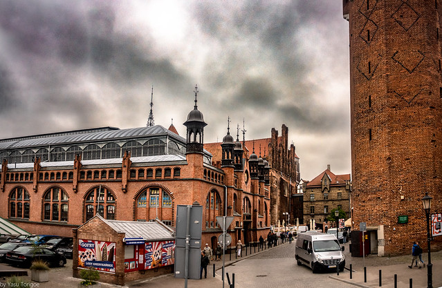 The Wroclaw Market Hall and adjacent Jacek Tower, Gdansk, Poland.  468-Edit