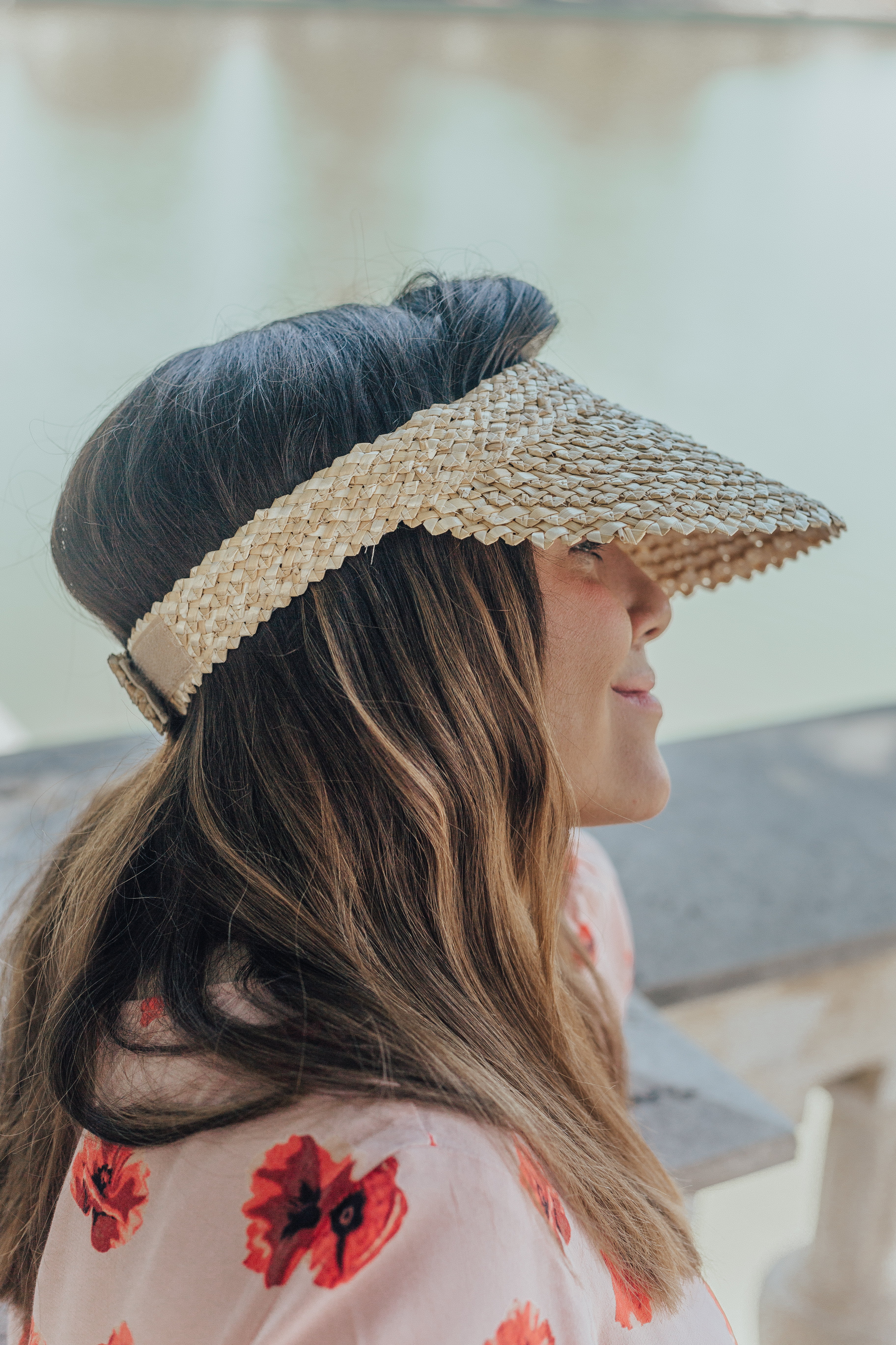 straw visor outfit