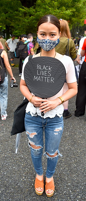 Japanese Black Lives Matter Supporter With Japanese Fan