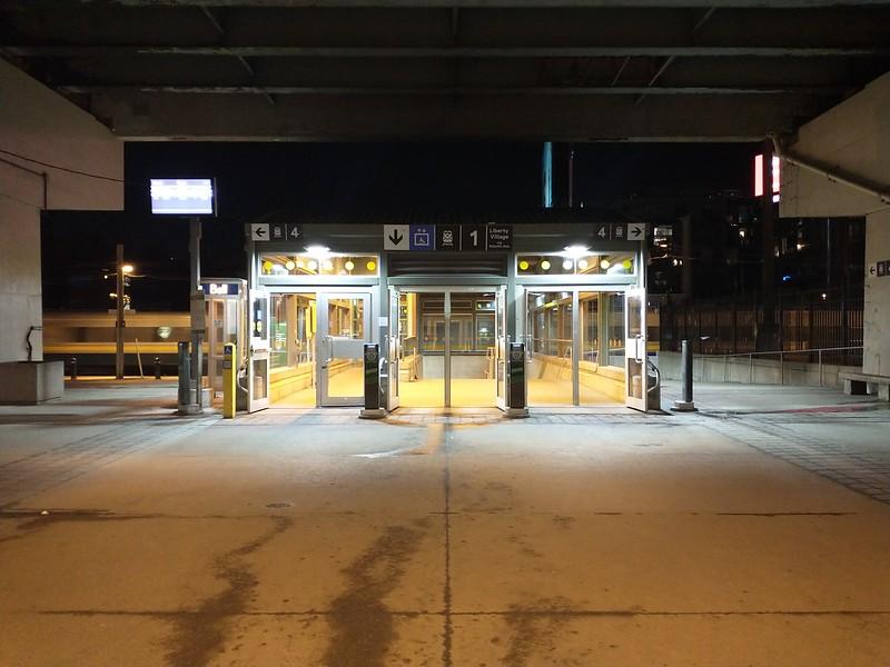 Exhibition GO Station, as a westbound VIA train passes #toronto #exhibitionplace #night #gotransit #exhibitiongostation #rail #viarail