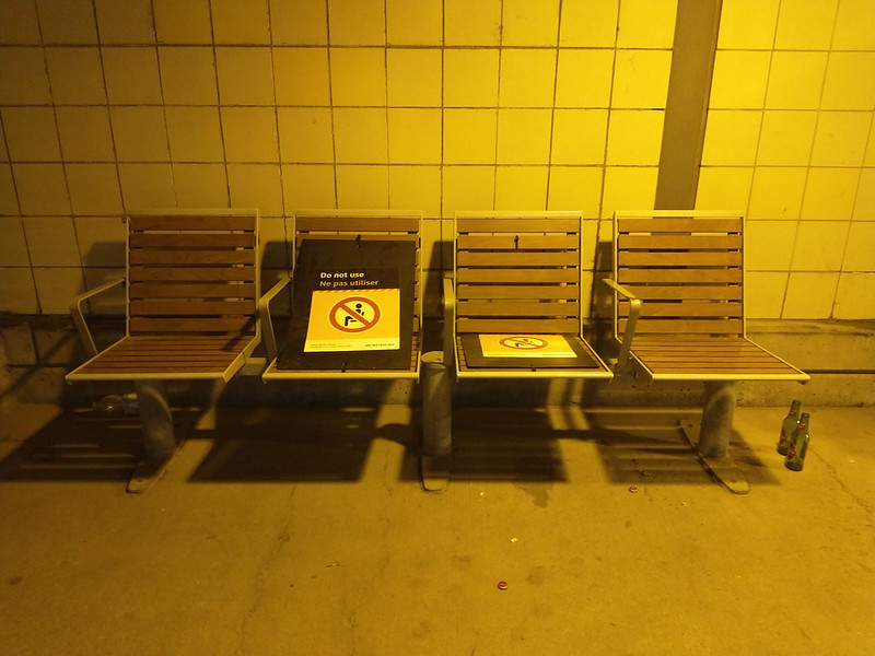 """Do not use"" #toronto #exhibitiongostation #night #chairs #signs #covid19toronto"