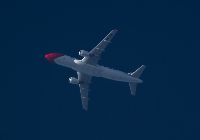 Edelweiss A320 (HB-JJL); flying at 38,000 ft from SPU to ZRH