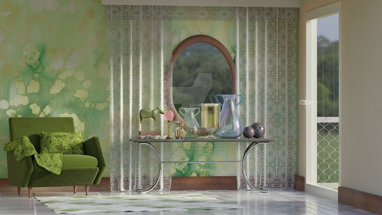 Interior Scene 3 in green style