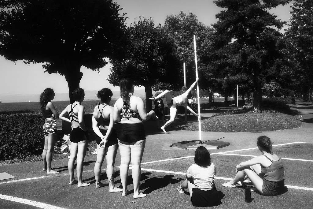 Pole dance training on lake (vivian Meyer inspired)
