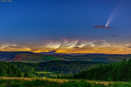 comet neowise noctilucent clouds trees landscape forestry clydach rhondda wales stars
