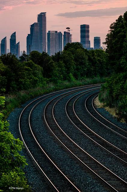 Railwaylands before Etobicoke at dusk