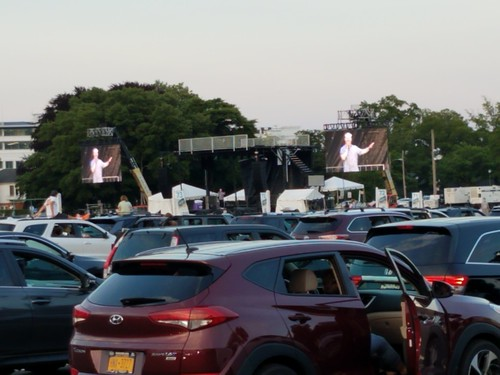 Jim Gaffigan performing for cars (and fans) at Monmouth Racetrack 2020-07-12