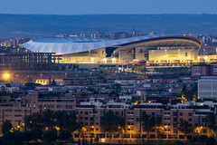 Dawn over the Wanda Metropolitano Stadium, Madrid, Spain