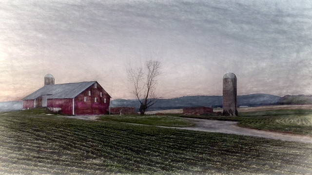 Barn on 2 turn road drawing