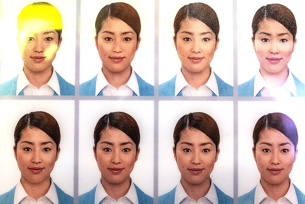Multiple portraits of a woman at Choryang-dong photo booth--Busan