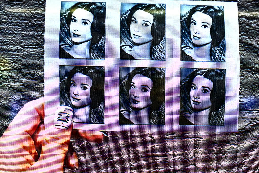 Audrey Hepburn at print to order machine--Busan