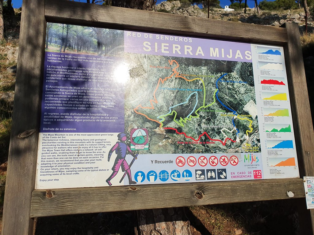 The list with the trails in Sierra de Mijas mountain range, at the beginning of the hike