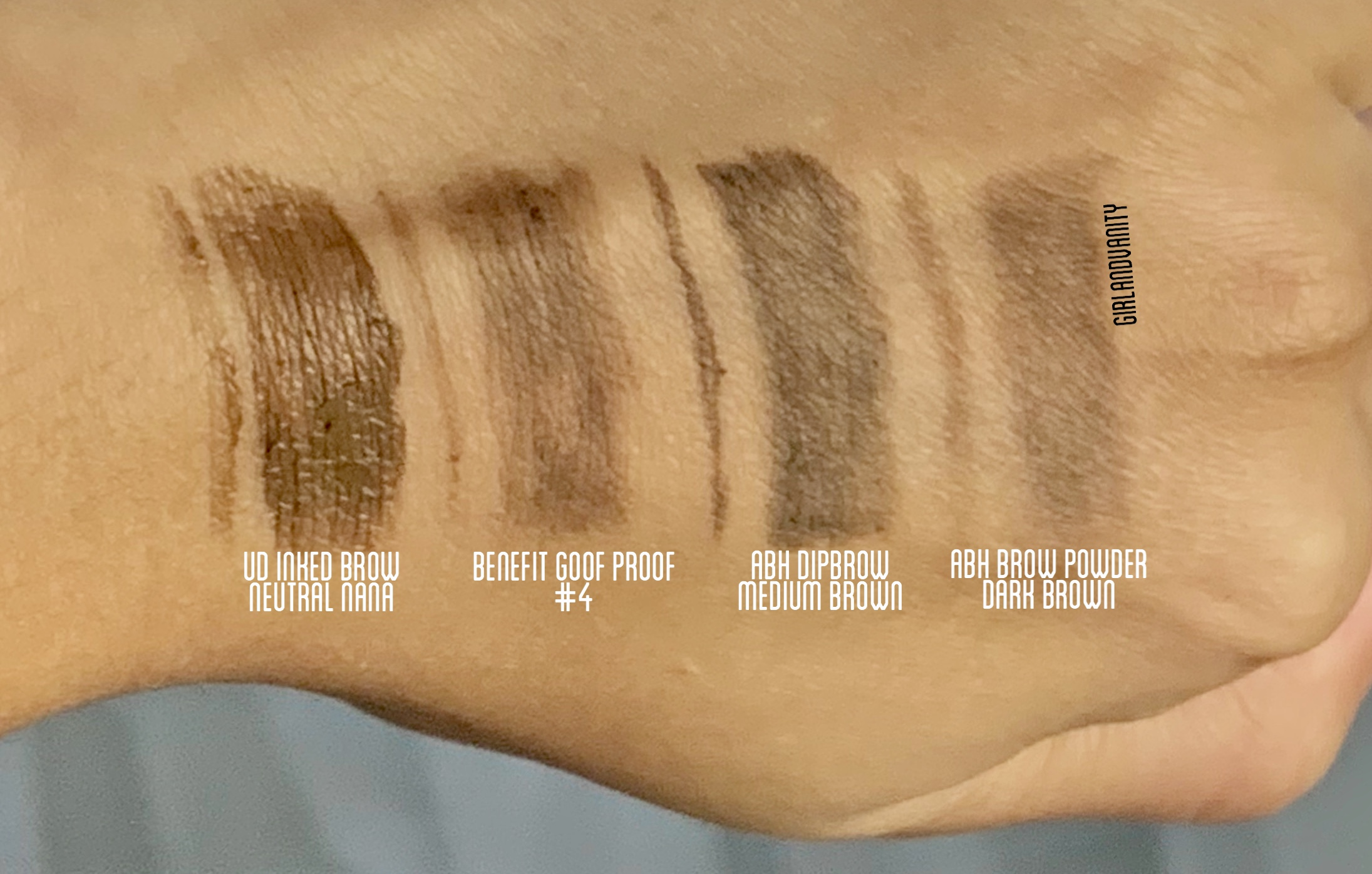 urban decay inked brow neutral nana vs benefit goof proof brow #4 vs anastasia beverly hills dipbrow medium brow vs anastasia beverly hills brow powder dark brown swatch