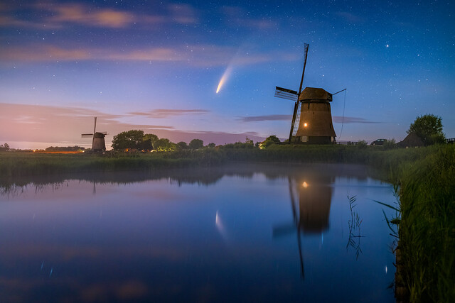 Neowise comet above windmills