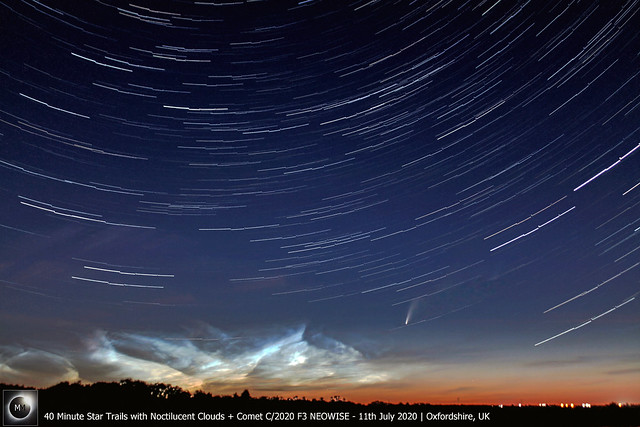 40 Minute Star Trails + Noctilucent Clouds & Comet C/2020 F3 NEOWISE - 11th July 2020