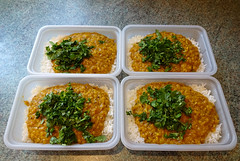 Khatti dal and rice for the freezer