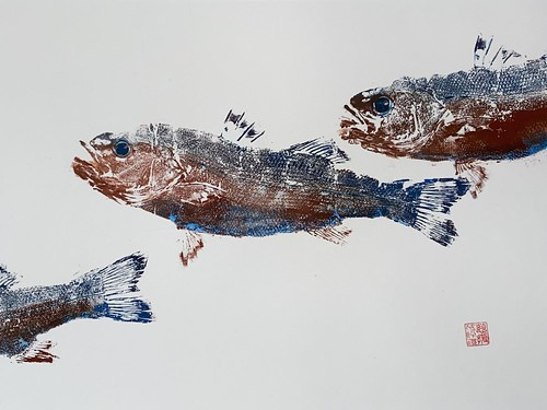 Sea Bass 039 | £62 inc p&p UK |2020| 51x38 cm | Japanese Paper on Hahnemuele Britannia Watercolour Paper