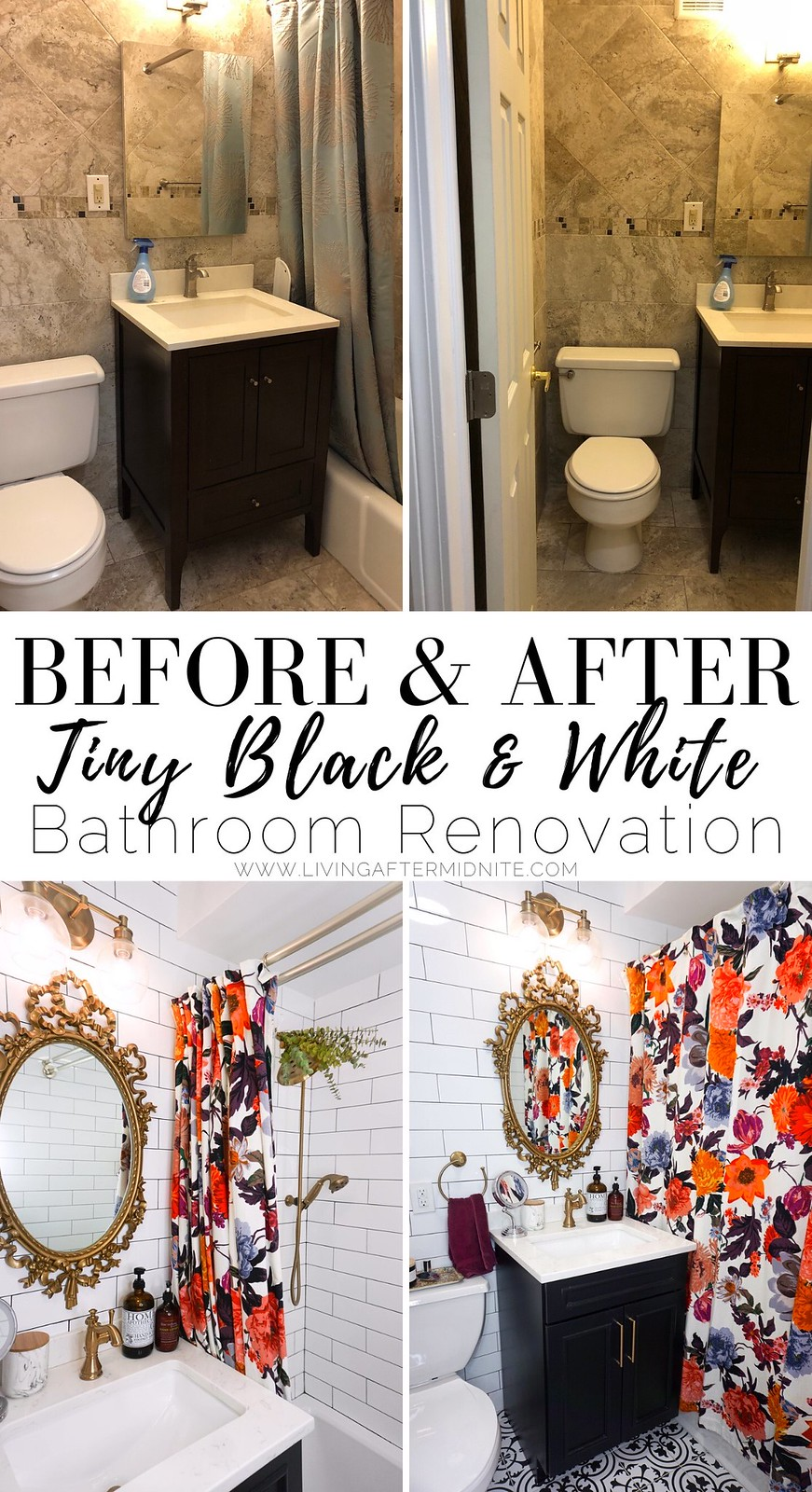 Before & After Photos: My Tiny Black and White Bathroom Renovation | Bathroom Decor | Bathroom Remodel | Black, White & Gold Bathroom Design | Gold Antique Vintage Bathroom Mirror | Anthropologie Bold Floral Shower Curtain | White Subway Tile Black Grout | Vintage Style Ceramic Floor Tile | Small Bathroom Remodel | Bathroom Remodel with Tub | Bathroom Decor Ideas | Apartment Bathroom Decor | Black Bathroom Vanity