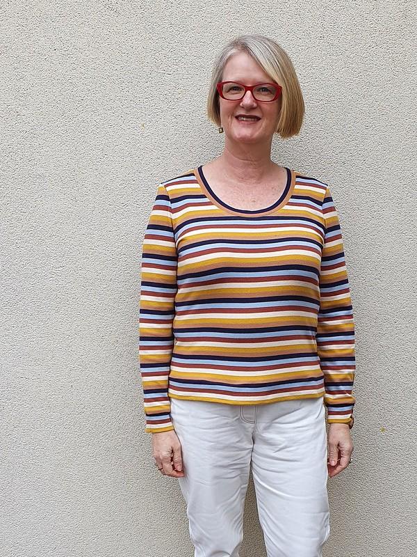 Sewaholic Renfrew tee in striped knit from Darn Cheap Fabrics