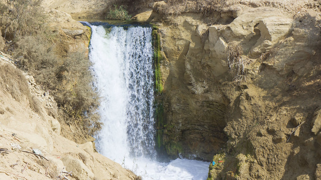 A waterfall in Wadi El-Raya in Egypt's Fayoum