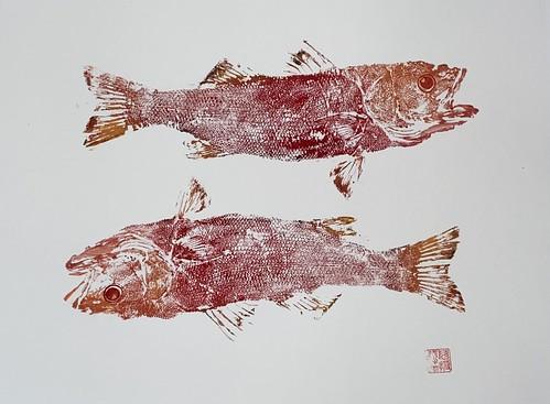 Sea Bass 036 | £62 inc p&p UK |2020| 51x38 cm | Japanese Paper on Hahnemuele Britannia Watercolour Paper