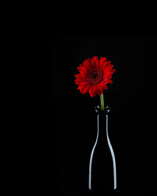 Bottle with a pinch of flower