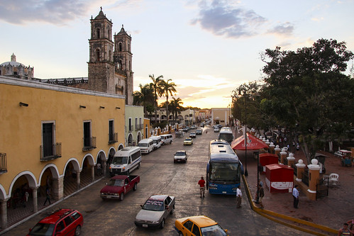 The street in front of San Servacio Church in Valladolid, Mexico