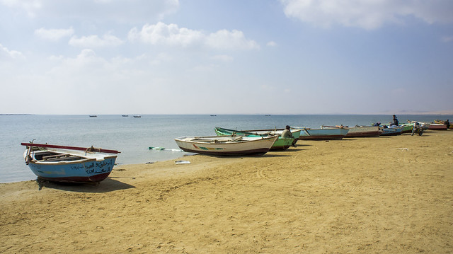 Boats at Egypt's Wadi El-Rayan Protectorate in Fayoum