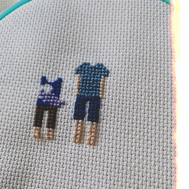 Cross Stitch Family Portrait WIP