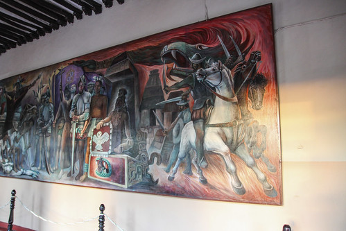 The Conquest, one of four murals housed in Valladolid's Municipal Palace, Mexico