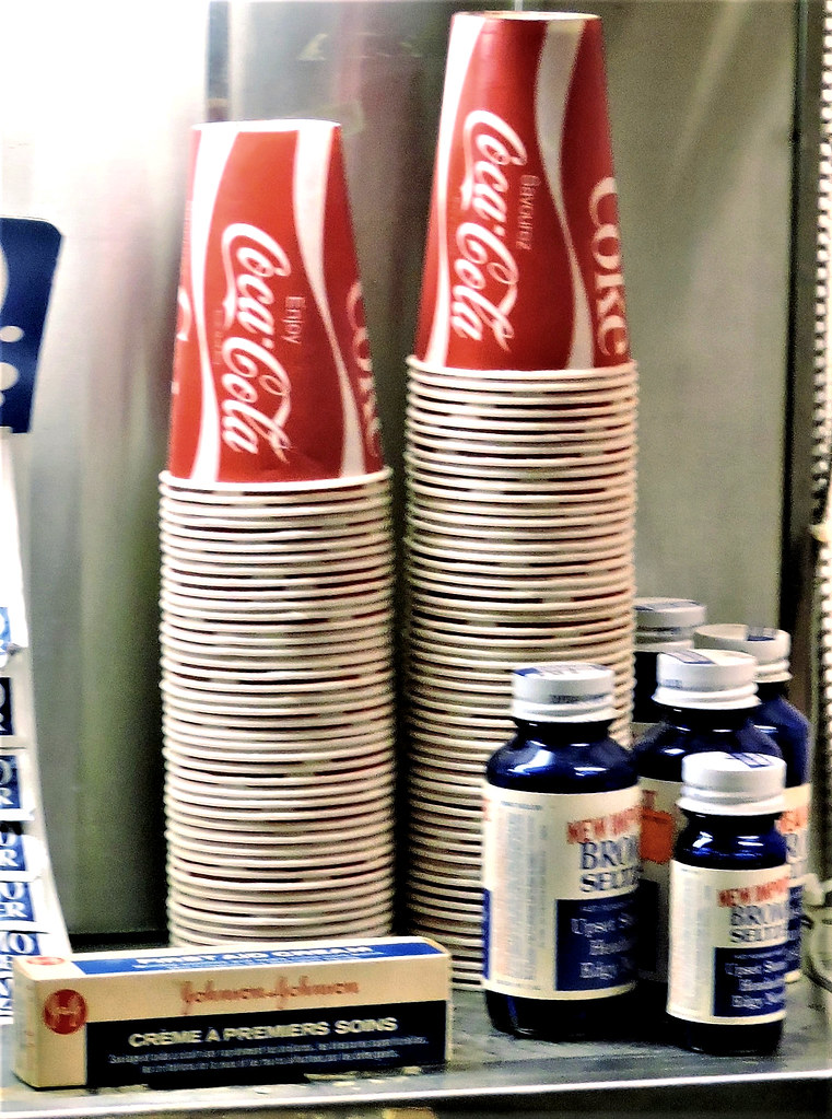 Coke cups; Bromo-seltzer; first aid cream