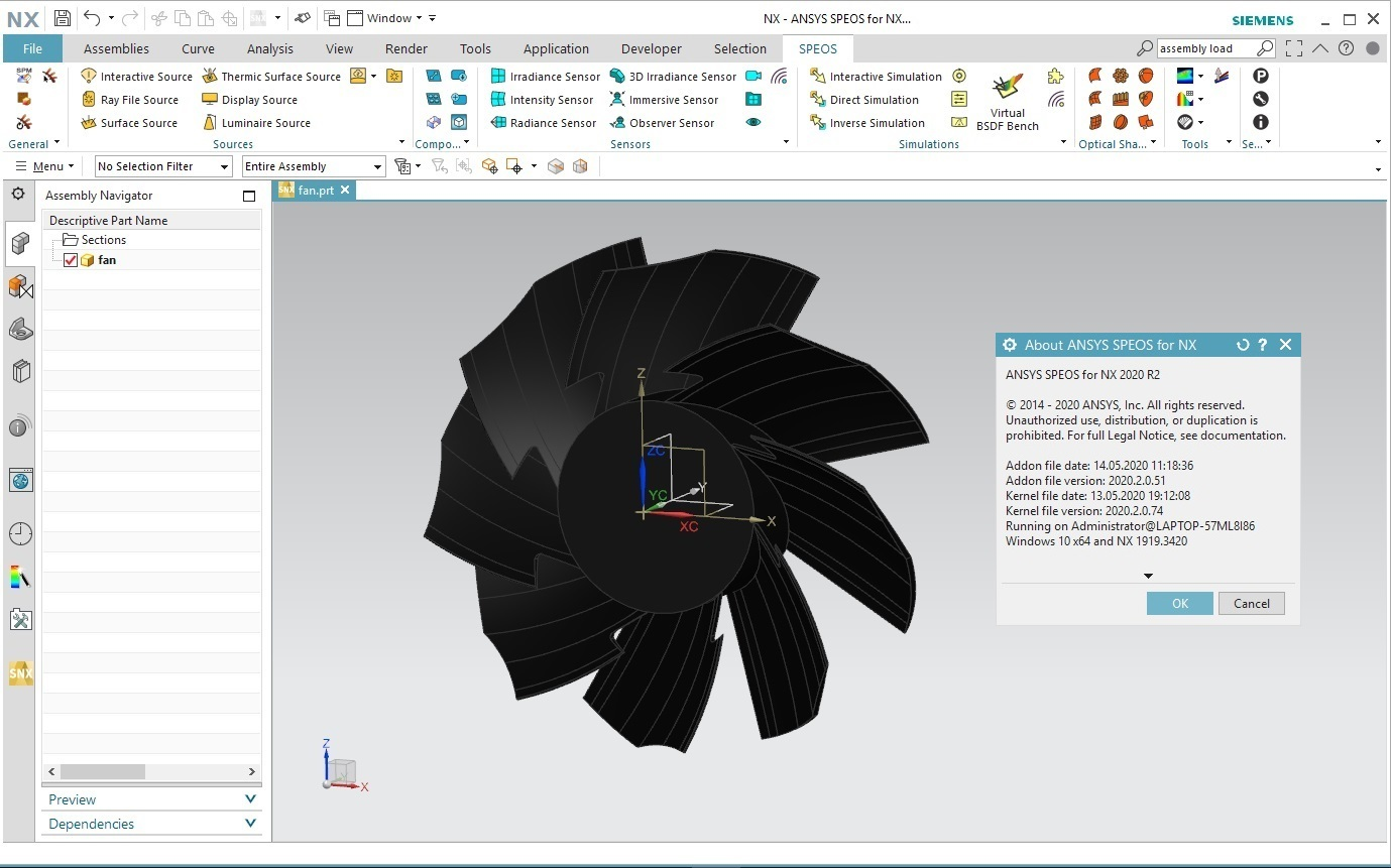 Working with ANSYS SPEOS 2020 R2 for Siemens NX 11.0-1899 Series full