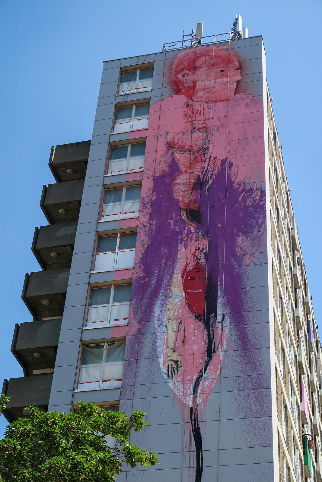 Tour des Brigittines mural by Bonom