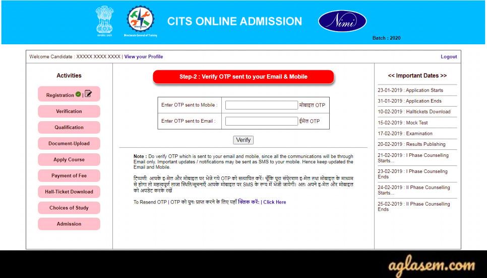OTP Verification for CITS Admission 2020 Registration Form
