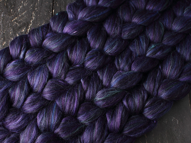Indulgence British wool, baby Alpaca and Mulberry Silk blended top spinning fibre 100g in 'Dark Magic'