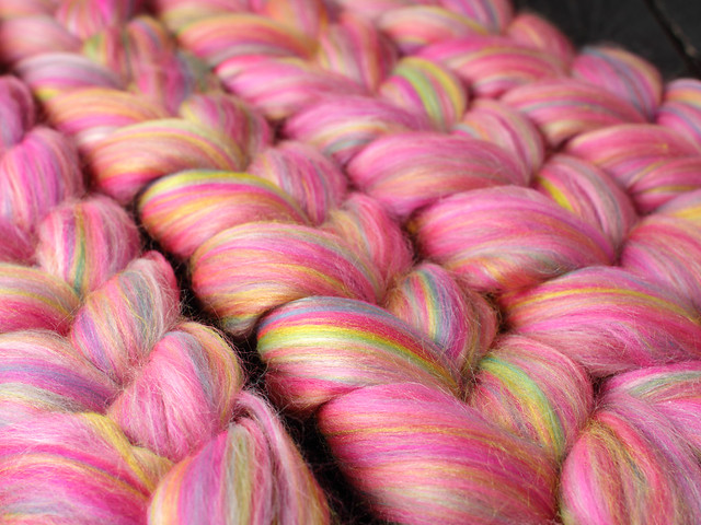 Merino wool & Silk blend combed top/roving spinning fibre 100g – 'Sprinkles'