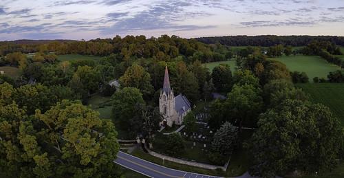 church aerial drone dronephotography aerialphotography landscape rural farmland countryside maryland mavicmini morning dawn