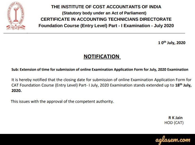 ICMAI CAT Foundation Course 2020 Application Form Deadline Extended - July Session