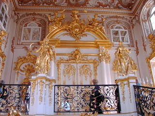 Lots of Gold at Entrance inside Peterhof Palace, Petergof, Russia